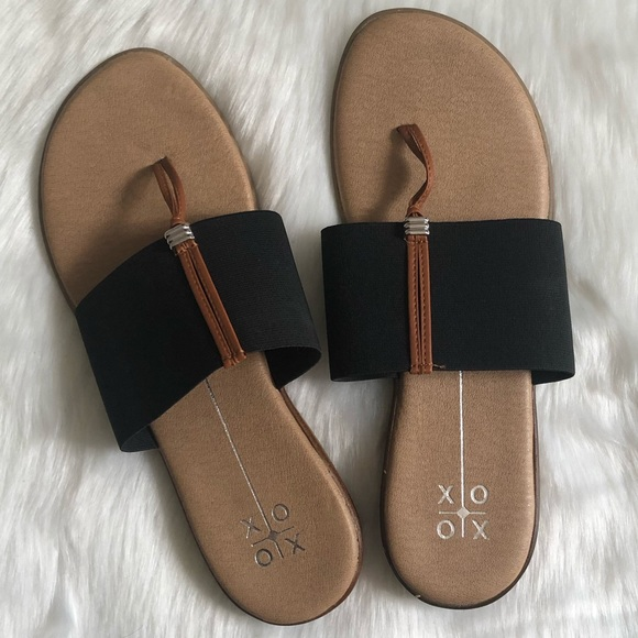 1be522e889278 XOXO Bennett Black Elastic/Brown Thong Sandals